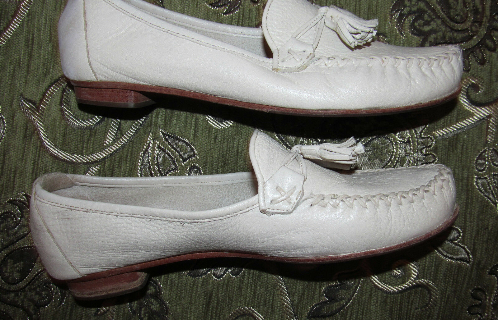 Cole Haan FOULONNE cuir Tassel Loafers Mocassins ivoire blanc cassé pointure 7.5 B