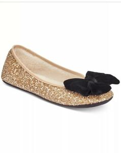 9a039dcc67e9 NIB KATE SPADE SUSSEX Gold Plus Glitter Ballet Slippers Shoes - Size ...