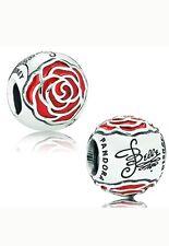 Authentic Pandora DISNEY BELLE incantato rose silver charm smalto rosso 791575EN09