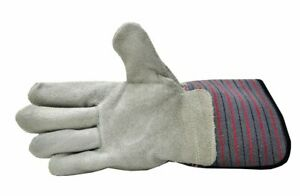 LEATHER Palm WORKING GLOVES MENS 1 pair Large with safety cuff