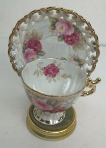Shafford-Tea-Cup-and-Saucer-Hand-Decorated-Lusterware-ROSE-Floral-Footed-Japan