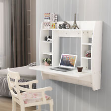 Floating Wall Mounted Office Computer Desk Home Office Table With Storage  White