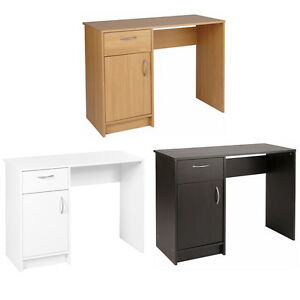 white black oak desk 1 drawer 1 door compact computer workstation