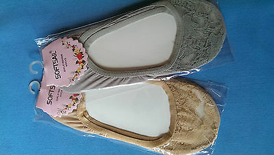Bailarina HQ y Encaje Zapatos Invisible Tobillo Footsie Liner Corto Calcetines softsa.