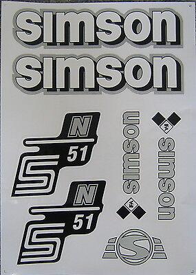 Simson Aufkleber Set  S51N  Seitendeckel/ Tank  weiß/silber