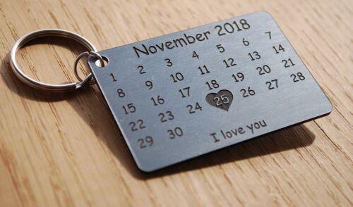 Metal Finish Laser Cut Personalised Keyring Calendar Anniversary Wedding