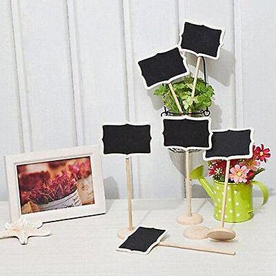 10PCS Wooden Mini Blackboard Chalkboard Wooden Labels Holder Message Table Board