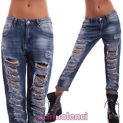 Generoso Jeans Donna Pantaloni Boyfriend Vissuti Consumati Strappati Risvolto Nuovi H906 Promuovi La Produzione Di Fluidi Corporei E Saliva
