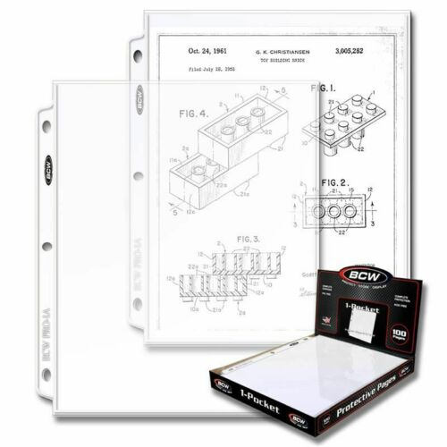 100 BCW 1 Large Document Pocket Pages Acid /& PVC Free For 3 Rings Binder Album
