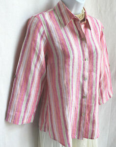 381d3b6b8a84eb FOXCROFT Striped Crisp Linen Shirt Size 8P Fitted Fit Blouse Top 3 4 ...