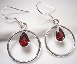 Small Faceted Garnet and Citrine 925 Sterling Silver Dangle Earrings