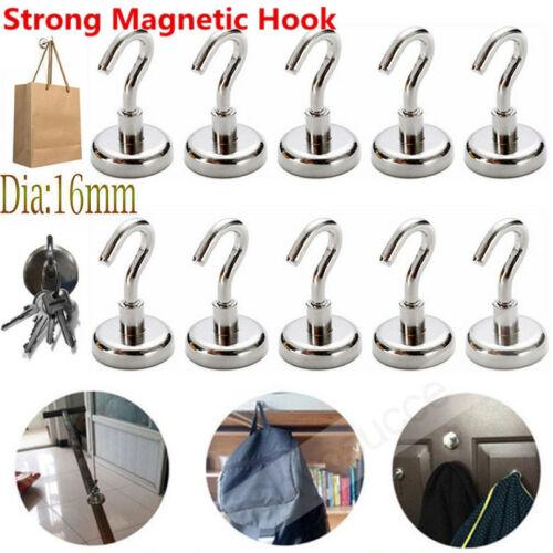 10X D16MM Magnetic Hook Hooks Heavy Duty Hanger Hanging Pothook For Refrigerator