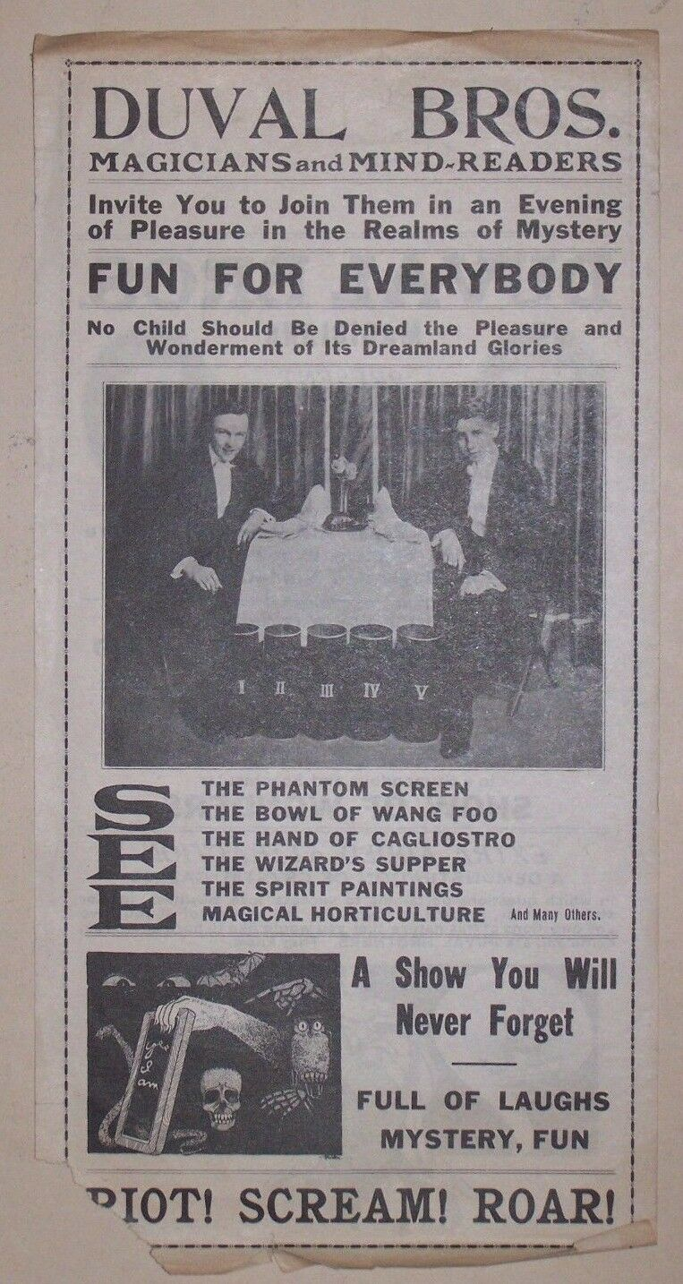DUVAL BROS. MAGICIANS AND MIND READERS PROMOTIONAL 2 SIDED FLYER 1921 Ade DUVAL
