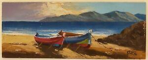 "Original Oil Painting on Board Seaside Beach Unframed Vintage Art  (5"" x 13"")"