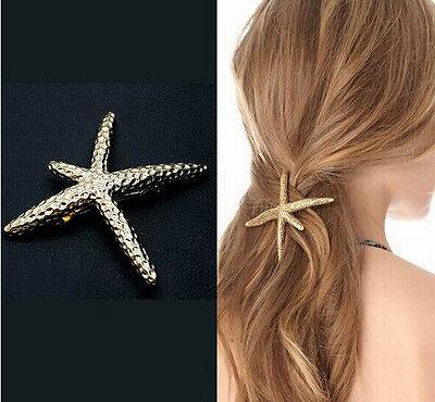 New Sweet Women&Girls Pretty Natural Starfish Star Gold Barrette Hair pin Clip