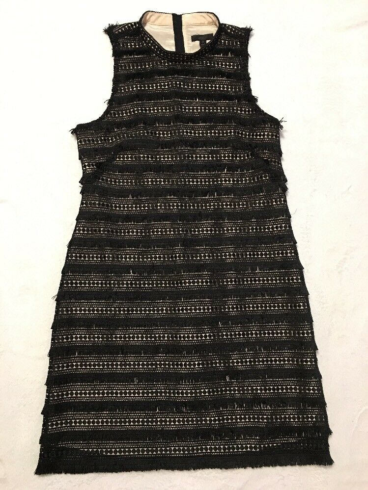 NWT J Crew Sheath Dress in Fringy Lace schwarz Sz 10 G1532 Sold Out