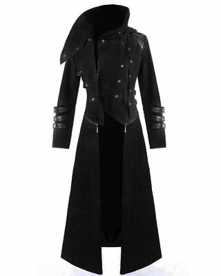 Men Winter Gothic Steampunk Long Trench Coat Plus Size Turn Neck Solid Long Leather Coat Casual Cool Men Motocycle Warm Jackets