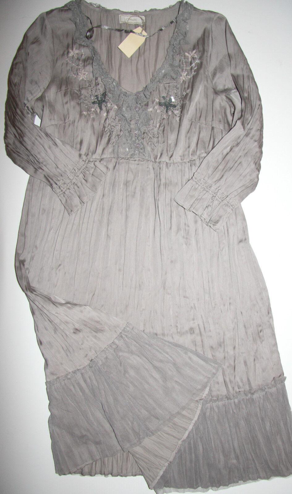 Cream DK  Tunika Tunika Tunika Kleid  Dress Crushed Tunik Sky Grey  size  40 Neu 73d3aa