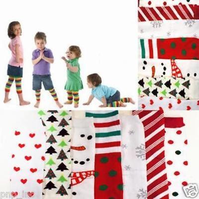 Holiday Christmas Xmas Children Child Crawl Leggings Tight Warmer Socks Girl/Boy