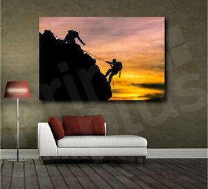 Rock Climbing Sunset Canvas Fine Art Poster Print Wall Decor