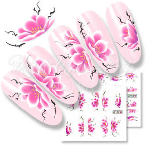 Cherry-Blossom-Nail-Decals-Water-Stickers-Lotus-Flower-Choose-Size-Long-Nails