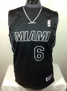 sale retailer f6a6a 79667 Details about Lebron James Miami Heat #6 Adidas Jersey Youth Size XL 18-20  Black Stitched