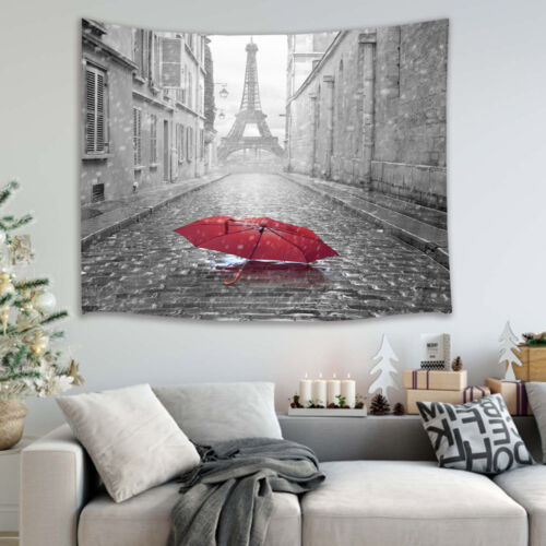 Eiffel Tower View from the Street of Paris Tapestry Wall Hanging for Living Room