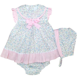 df90e5815 Beautiful Spanish Baby Girl Dress, Pants and Bonnet Set / Outfit. | eBay