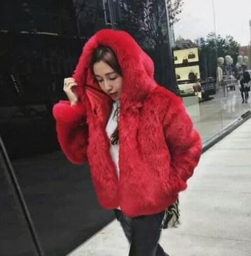 Faux Fur Womens Short Coat Thicken Hooded Winter Warm Thicken Jacket Outwear New