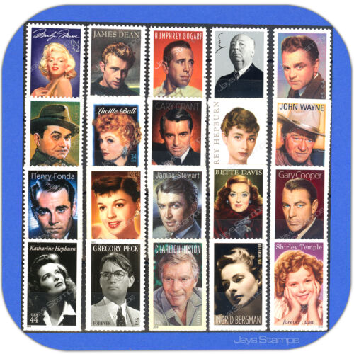 1995-2016-LEGENDS-OF-HOLLYWOOD-Series-TRUE-Complete-Set-of-20-Stamps-w-Bonus