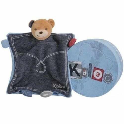 Doudou Kaloo Ours Marionnette Blue Denim Plat en boite cadeau neuf