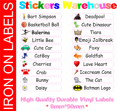 10 Iron On Name Labels School Uniform Clothes Garment Tag PERSONALISED PRINTED