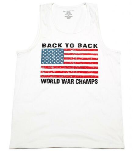 Back To Back World War Champs Champions USA Flag Men/'s Tank Top  S-3XL WHITE