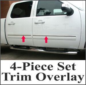 2007-2008-Chevy-Silverado-Crew-Cab-4Pc-Chrome-Body-Side-Molding-Overlay-1-034-Trim