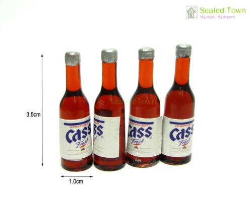 4 Dollhouse Miniature 1:12 Wine Beer Sake Bottle Set Kitchen Drink Bar Pub Decor