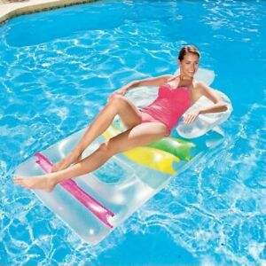 Details about Inflatable Designer Swimming Pool Lounger Sun Chair Bed Lilo  Adult Float 43011