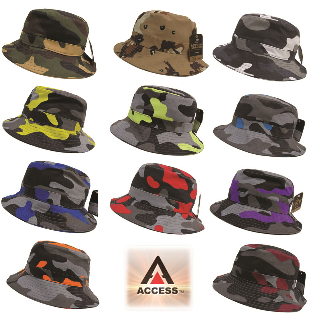 NEW AUTHENTIC ACCESS UNISEX HUNTING CAMO BUCKET HAT BASIC HUNTING UNISEX FISHING OUTDOOR CAP 02545d