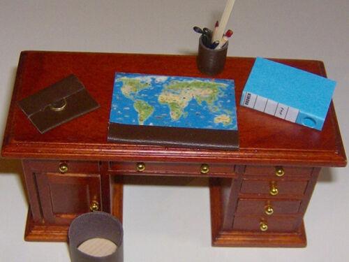 für die Puppenstube HA2158 ohne Schreibtisch 1:12 Schreibtischset 5-teilig