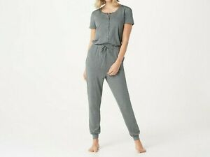AnyBody-Women-039-s-Regular-Cozy-Knit-Button-Front-Jumpsuit-Charcoal-Medium-Size
