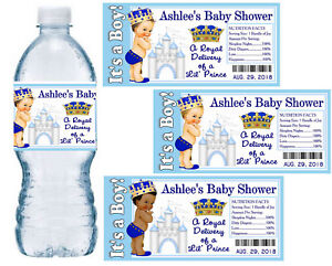 20 Little Prince Royal Prince Baby Shower Favors Party Water Bottle