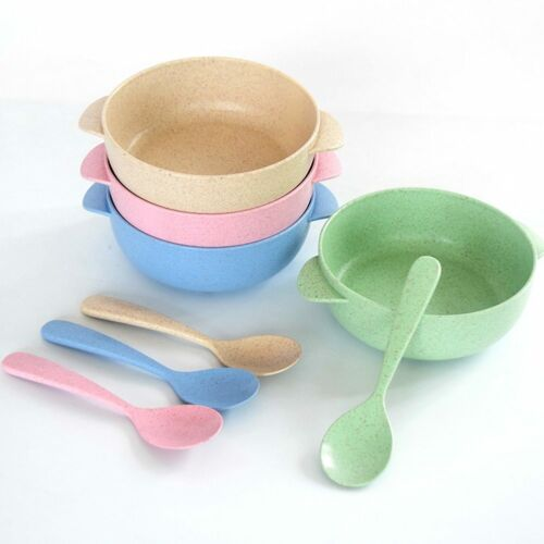 Wheat Straw Bowl With Spoon Plastic Salad Noodle Soup Bowl Baby Feeding Bowl