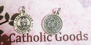 Saint-St-Florian-Patron-Saint-of-Fire-Fighters-Silver-Tone-Medal