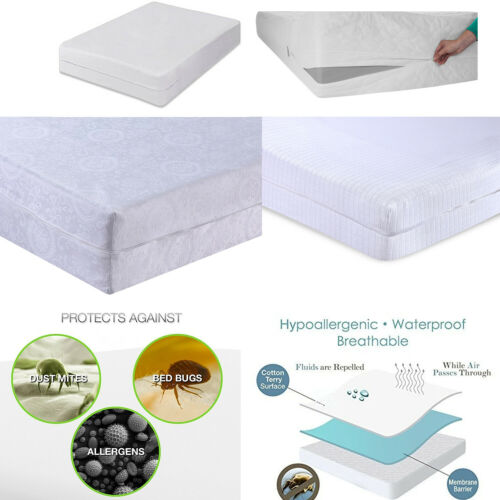 Luxury Mattress Cover Full Encasement Protection 3 Layers with Zip Anti Bug Soft