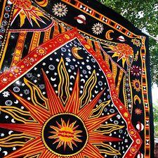 Vibrant colors sun moon tapestry indian bedsheets  wall hanging hippy boho art-U