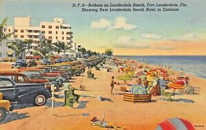 FORT-LAUDERDALE-FL-BATHERS-ON-BEACH-ART-DECO-HOTEL-OLD-AUTOS-1947-PSMK-POSTCARD