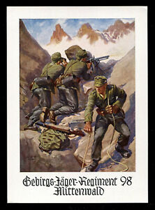 WW2 WWII Germany 3rd Reich Postcard German Hitler Army 1st Mountain Division