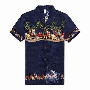 Men-Aloha-Shirt-Cruise-Tropical-Luau-Party-Hawaiian-Navy-Vintage-Cars-Surf-Palm