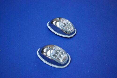 Pair Polished Stainless Steel LED Teardrop Navigation Lights