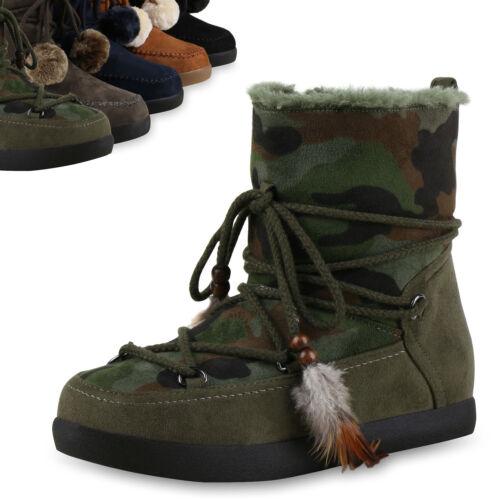 Warm Gefütterte Damen Stiefeletten Winter Ethno Keilabsatz Boots 814089 Top