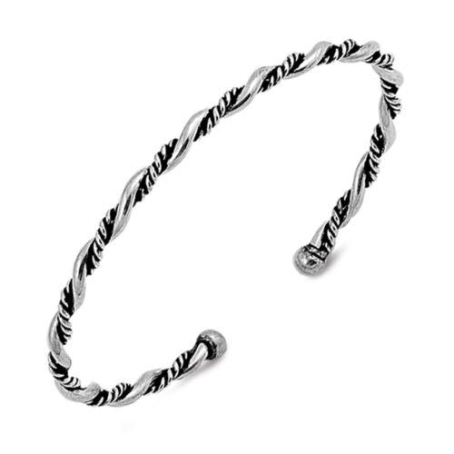 Kordel Gedreht Oxidierte Sterlingsilber Bali Armreif Armband